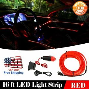 5M Car Neon Light Strip EL Wire Decorative Atmosphere Red Cold Light For Nissan