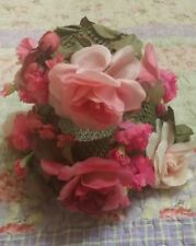VINTAGE STYLED BY CORALIE PINK FLORAL FLOWERED HAT