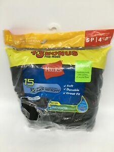 HANES Boys' Cushion No Show Socks Bonus Pack 15 Pair Black - Size S-P