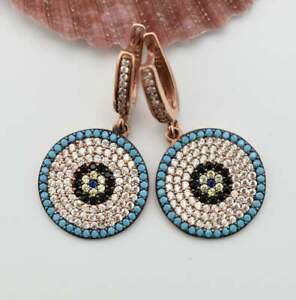 Turquoise Sapphire &Diamond Women's Evil Eye Dangle Earrings 14k Rose Gold Over