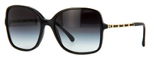 CHANEL 5210Q 501/3c Black/Gold Leather Chain Sunglasses Grey Lens 100% UV