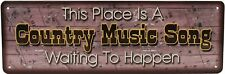 """Rivers Edge Products Tin Sign Country Music Song, Size 10.5"""" x 3.5"""""""