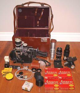 Vintage PAILLARD BOLEX 1955 H16 Supreme Film Camera & Case & 6 Lens & More