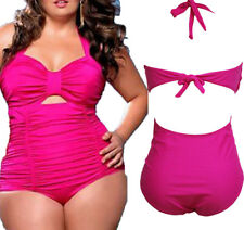 US 3XL Sweetheart Neck Ruched Plus Size One Piece Swimsuit Women Bikini Summer