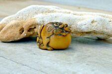Antique Japanese netsuke Shishi dog 石狮 Imperial guardian lion.  Edo period