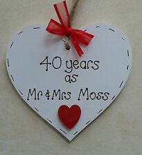 personalised ruby 40th wedding anniversary wooden heart gift handmade