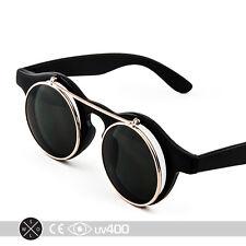Black Gold Steampunk Round Circle Sunglasses Glasses Costume Optics Goggles S145