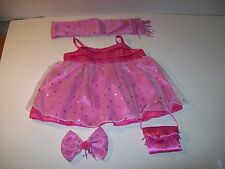 Build A Bear Clothing~Dress~Pink Satin Veil Front~Matching Shawl~Purse~Bow~E8
