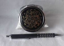Gift Set Black Dual Sided Mirror Compact and Black Ballpoint Pen