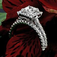 Halo Pave 2.66 Carat SI1/H Princess Cut Diamond Engagement Ring Set White Gold