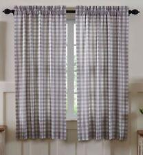 "63""L Gray White Annie Buffalo Check Farmhouse Curtains Cotton Lined w/ Tie Backs"