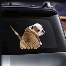3D Bulldog Moving Tail Wiper Window Car Sticker Dog Puppy Rear Windshield Decal