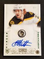 2013-14 NATIONAL TREASURES DOUGIE HAMILTON FIGHT STRAP BUTTON ROOKIE AUTO 2/3