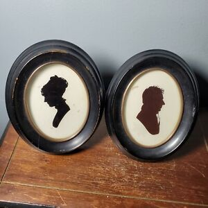 Vintage Oval Framed Silhouettes Leverett Saltonstall & Woman of Barstow Family
