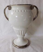"""Original Vintage White Erphila Czechoslovakia 10"""" Trophy Vase Very Good Conditio"""