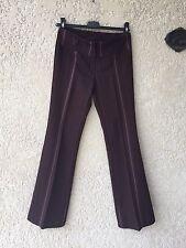 Pantalon Femme Marron Rayures Rose - Taille 38 - Bon Etat
