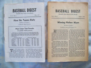 BASEBALL DIGEST May 1943 and March 1944 no covers