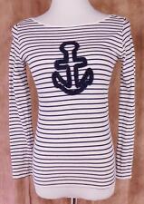 LE PHARE DE LA BALEINE~Anthropologie~Sz S~Anchored Boat Neck~Striped~LS~Top