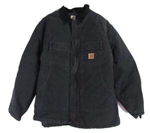 Carhartt Men Jacket Black Size 3XLT Big Contrast Corduroy Collar Bomber $129 202