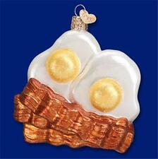 BACON AND EGGS OLD WORLD CHRISTMAS GLASS SUNNYSIDE BREAKFAST ORNAMENT NWT 32210