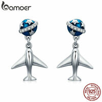 Bamoer Authentic S925 Sterling Silver Earrings With CZ Earth and airplane Women