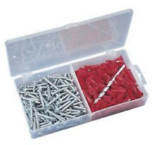 "100 Pcs 1/4"" Plastic Wall Anchor and Screws Kit Box with Drill Bit"