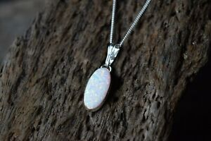 925 STERLING SILVER WHITE OPAL GEMSTONE DROPLET NECKLACE TRIPLE COLOUR
