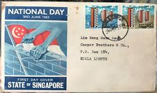 Singapore FDC -1963 3Jun National Day 2v stamps cover canc MALAYSIA HDB (toned)