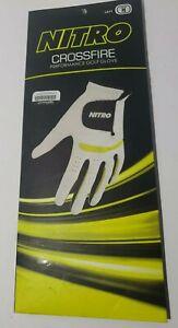 NEW-Nitro Crossfire Performance Golf Glove- Men's Left Hand-White/Yellow-Medium