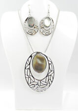 Natural Mother of Pearl Shell with Foliage Oval Cutout Necklace & Earring Set