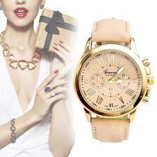 Mode Edelstahl Damen Lederband Quarz Analog Armbanduhr heiß