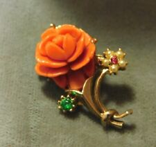 Vintage Faux Coral Lucite Rose Flower Gold tone Rhinestones Brooch Pin 11e 102