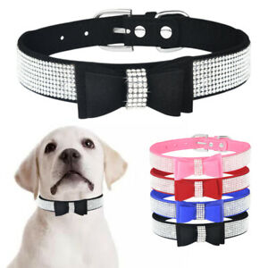 Suede Leather Dog Collar Diamante with Bow Tie Small Medium Puppy Cat Collars