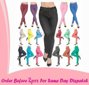 New Ladies Skinny Fit Coloured Jeggings Trouser Womens Stretch Jeans Denim Pants