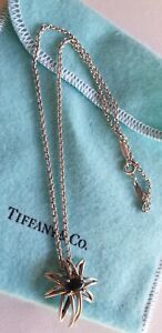 """Tiffany & Co. Fireworks Onyx & 925 sterling silver pendant necklace 15"""""""