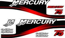 RED MERCURY 75 OUTBOARD OPTIMAX MOTOR PRINTED STICKERS KIT ENGINE