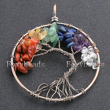 Round Colorful Tree of Life Life-tree Gems Chip Beads Pendant Women Men Jewelry