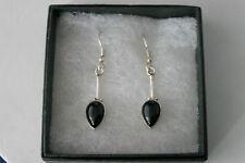 Beautiful Silver Earrings With Onyx  3.8 Gr. 2.8 Cm. Long + Hooks In Gift Box