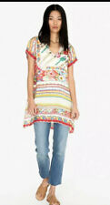 NWT Johnny Was Floral Tulum Silk Tunic Top L