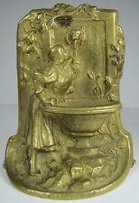 Old Lovely Maiden at Well Drinking Water from Lion Head Fountain Brass Bookend