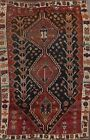 Antique Geometric Tribal Abadeh Area Rug Evenly Low Pile Oriental Handmade 5'x7'