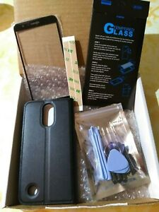 LG K20 Plus Bundle - Replacement Glass, Screen Protector, Black Folio Style Case