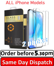 2 Tempered Glass Screen Protector Fits Apple iPhone 5 6 7 8  X XR  11 12 Pro Max