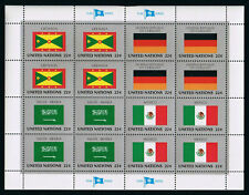 United Nations Stamps — Flag Series: Grenada, Saudi Arabia, Germany & Mexico MNH