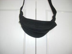 LADIES BLACK VELOUR BUMBAG WAIST BAG - LINED ZIPPED - VGC