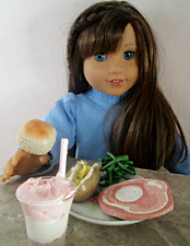AG Doll Miniature Ham and Green Bean Dinner with Neapolitan Milk Shake