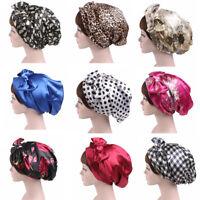 Bows Turban Headband for Women Satin Head Scarf Sleeping Bonnet Silk Head Wrap