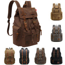 Unisex Vintage Canvas Leather Backpack Rucksack School Satchel Laptop School Bag