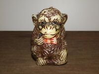 "VINTAGE BRITISH HONG KONG 4 3/4"" HIGH ANIMAL DELIGHTS HAND PAINTED MONKEY CANDLE"