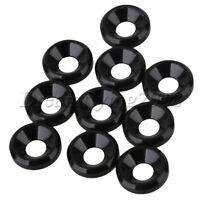 10Pcs 8mm-Dia Aluminium Countersink Washer M3 Thread for RC Model Car Black